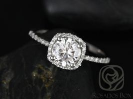 Rosados Box Barra 3/4ct 14kt White Gold Round Diamond Cushion Halo Engagement Ring