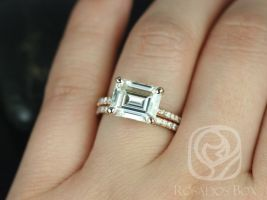 Rosados Box Becca 10x8mm 14kt Rose Gold Emerald Forever One Moissanite Diamonds Accent Classic Wedding Set
