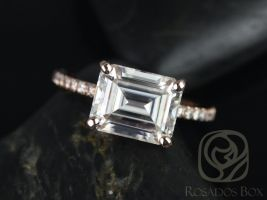 Rosados Box Becca 10x8mm 14kt Rose Gold Emerald Forever One Moissanite Diamonds Accent Engagement Ring