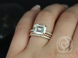 Rosados Box Becca 9x7mm & Buddha Beads 14kt Rose Gold Emerald Forever One Moissanite Diamonds Accent TRIO Wedding Set