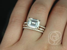 Rosados Box Becca 10x8mm & Ivanna 14kt Rose Gold Emerald Forever One Moissanite and Diamonds TRIO Wedding Set