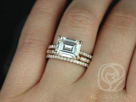 Rosados Box Becca 10x8mm & Ivanna 14kt Rose Gold Emerald Forever One Moissanite and Diamonds TRIO Wedding Set