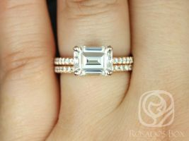 Rosados Box Becca 9x7mm 14kt Rose Gold Emerald Forever One Moissanite Diamonds Accent Classic Wedding Set