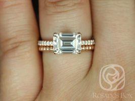 Rosados Box Becca 9x7mm & Buddha Beads 14kt Rose Gold Emerald Forever One Moissanite Diamonds Wedding Set