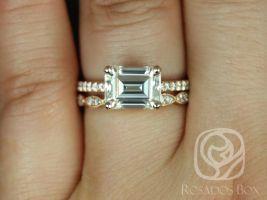 Rosados Box Becca 9x7mm & Christie 14kt Rose Gold Emerald Forever One Moissanite Diamonds Accent Wedding Set