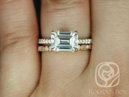 Rosados Box Becca 9x7mm & Ivanna 14kt Rose Gold Emerald Forever One Moissanite Diamonds Accent Wedding Set