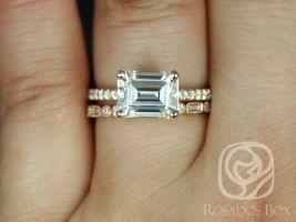 Rosados Box Becca 9x7mm & Ivanna 14kt Rose Gold Emerald Forever One Moissanite Diamonds Accent Wedding Set