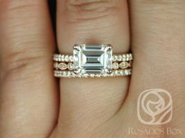Rosados Box Becca 9x7mm & Gwen 14kt Gold Emerald Forever One Moissanite Diamonds Accent TRIO Wedding Set
