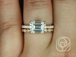 Rosados Box Becca 9x7mm & Gwen 14kt Rose Gold Emerald Forever One Moissanite Diamonds Wedding Set