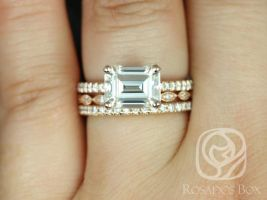 Rosados Box Becca 9x7mm & Ult Pte Leah 14kt Gold Emerald Forever One Moissanite Diamonds TRIO Wedding Set