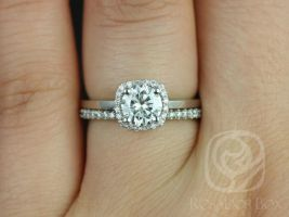 Rosados Box Bella 6mm & Catalina 14kt White Gold Round F1- Moissanite and Diamonds Cushion Halo Wedding Set