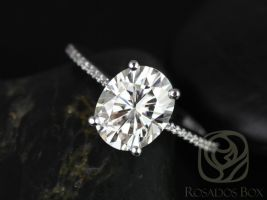 Rosados Box Blake 10x8mm 14kt White Gold Oval F1- Moissanite and Diamonds Cathedral Engagement Ring