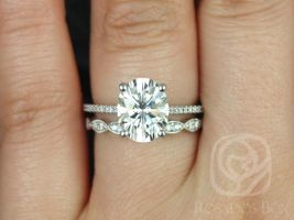 Rosados Box Blake 10x8mm & Christie 14kt White Gold Oval F1- Moissanite and Diamonds Cathedral Wedding Set