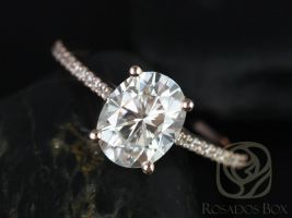 Rosados box Blake 9x7mm 14kt Rose Gold Oval F1- Moissanite and Diamonds Cathedral Engagement Ring