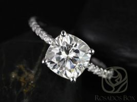 Rosados Box Blanche 7.5mm 14kt White Gold F1- Moissanite Cushion and Diamond ALMOST Eternity Engagement Ring