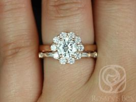 Rosados Box Blossom 6.5mm & Baguettella 14kt Rose Gold Round F1- Moissanite and Diamonds Flower Halo Wedding Set
