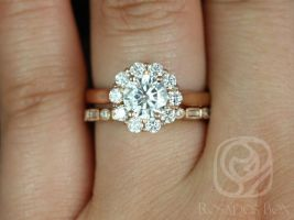Rosados Box Blossom 6.5mm & Ivanna 14kt Rose Gold Round F1- Moissanite and Diamonds Flower Halo Wedding Set
