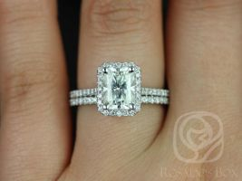 Rosados Box Brianna 8x6mm White Gold Radiant F1- Moissanite and Diamonds Halo Wedding Set