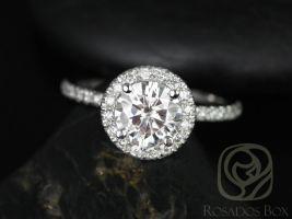 Rosados Box Callie 6.5mm 14kt White Gold Round F1- Moissanite and Diamonds Halo Engagement Ring