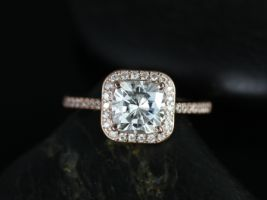 Rosados Box Camila 7mm 14kt Rose Gold Cushion F1- Cushion Moissanite Halo Engagement Ring