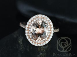 Rosados Box Cara 10x8mm 14kt Rose Gold Oval Morganite and Diamonds Double Halo Engagement Ring