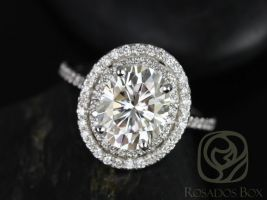 Rosados Box Cara 10x8mm 14kt White Gold Oval F1- Moissanite and Diamonds Double Halo Engagement Ring