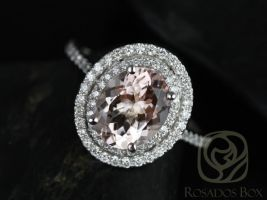 Rosados Box Cara 10x8mm 14kt White Gold Oval Morganite and Diamonds Double Halo Engagement Ring