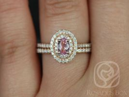 Rosados Box Cara 6x4mm 14kt Rose Gold Oval Raspberry Peach Sapphire Engagement Ring & Wedding Set Double Halo w/ Diamonds