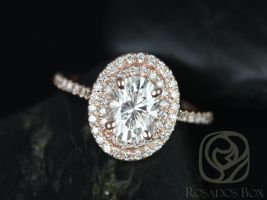 Rosados Box Cara 8x6mm 14kt Rose Gold Oval F1- Moissanite and Diamonds Double Halo Engagement Ring