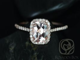 Rosados Box Carrie 8x6mm 14kt Rose Gold Rectangle Cushion Halo Morganite and Diamond Engagement Ring