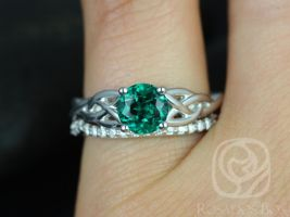 Rosados Box Cassidy 6mm 14kt White Gold Round Emerald & Diamond Celtic Knot Wedding Set