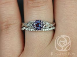 Rosados Box Cassidy 6mm 14kt White Gold Round Alexandrite and Diamonds Celtic Knot Wedding Set