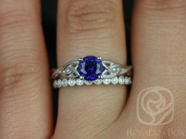 Rosados Box Cassidy 6mm & Petite Bubbles 14kt White Gold Round Blue Sapphire and Diamond Celtic Wedding Set