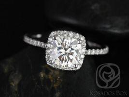 Rosados Box Catalina 6.5mm 14kt White Gold Cushion F1- Moissanite and Diamond Halo Engagement Ring