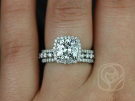 Rosados Box Catalina 7.5mm & Petite Naomi Platinum Forever One Moissanite Diamonds Halo TRIO Wedding Set
