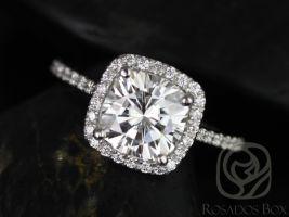 Rosados Box Catalina 7.5mm Platinum Cushion Forever One Moissanite Diamonds Halo Engagement Ring