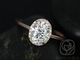 Rosados Box Celeste 8x6mm 14kt Rose Gold Oval F1- Moissanite and Diamond Pave Halo Engagement Ring