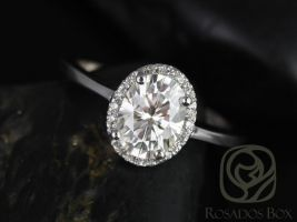 Rosadso Box Celeste 8x6mm 14kt White Gold Oval F1- Moissanite and Diamonds Pave Halo Engagement Ring