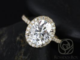Rosados Box Chantelle 10x8mm 14kt Yellow Gold Oval F1- Moissanite and Diamond Halo Engagement Ring