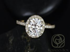 Rosados Box Chantelle 8x6mm 14kt Yellow Gold Oval F1- Moissanite and Diamond Halo Engagement Ring