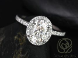 Rosados Box Chantelle 9x7mm 14kt White Gold Oval F1- Moissanite and Diamond Halo Engagement Ring