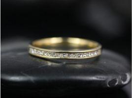 Rosados Box Ready to Ship Charlene 14kt Yellow Gold Channel Set Princess Diamond HALFWAY Eternity Band