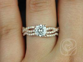 Rosados Box Chloe 6.5mm 14kt Rose Gold Round F1- Moissanite & Diamond Twist Wedding Set