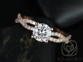 Rosados Box Chloe 6.50mm 14kt Rose Gold Round F1- Moissanite & Diamond Twist Engagement Ring