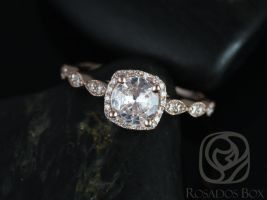 Rosados Box Christie 6mm 14kt Rose Gold White Sapphire and Diamonds Cushion Halo WITH Milgrain Engagement Ring