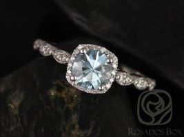 Rosados Box Christie 6mm 14kt White Gold Round Aquamarine Cushion Halo WITH Milgrain Engagement Ring