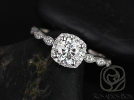 Rosados Box Christie 6mm 14kt White Gold Round F1- Moissanite Cushion Halo WITH Milgrain Engagement Ring