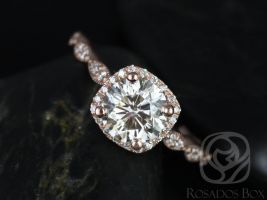 Rosados Box Christie 7mm 14k Rose Gold Round F1- Moissanite and Diamond Halo WITH Milgrain Engagement Ring