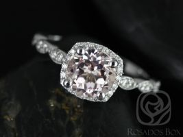 Rosados Box Christie 7mm 14kt White Gold Round Morganite and Diamond Cushion Halo WITH Milgrain Engagement Ring