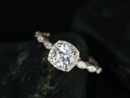 Rosados Box Christie 6mm 14kt Rose Gold Round White Topaz and Diamonds Cushion Halo WITHOUT Milgrain Engagement Ring